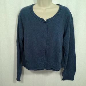 J Jill womens sweater Size L Blue Cardigan Snaps